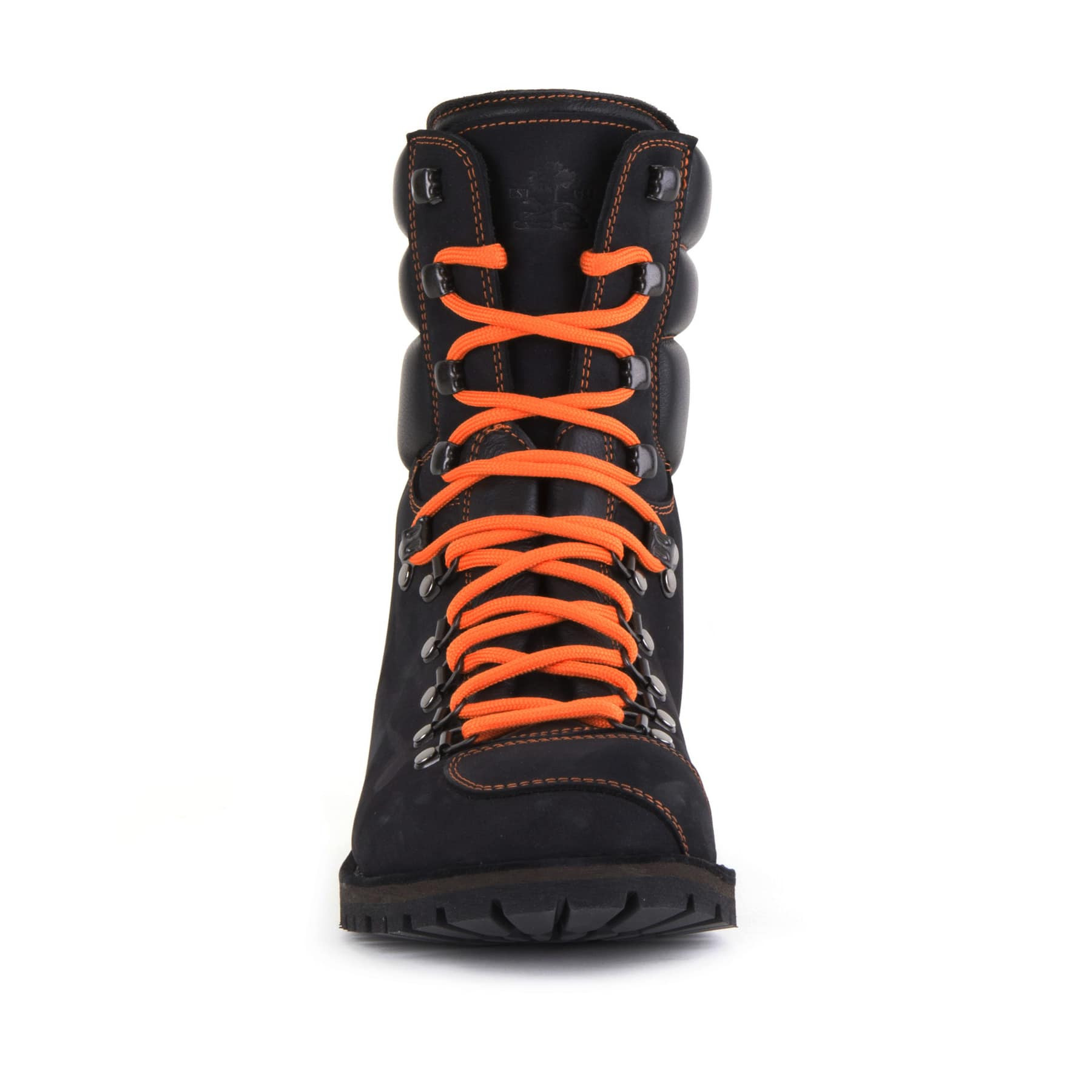 Biker Boot AdventureSE Denver Black, schwarzer Herren Stiefel, orange Nähte