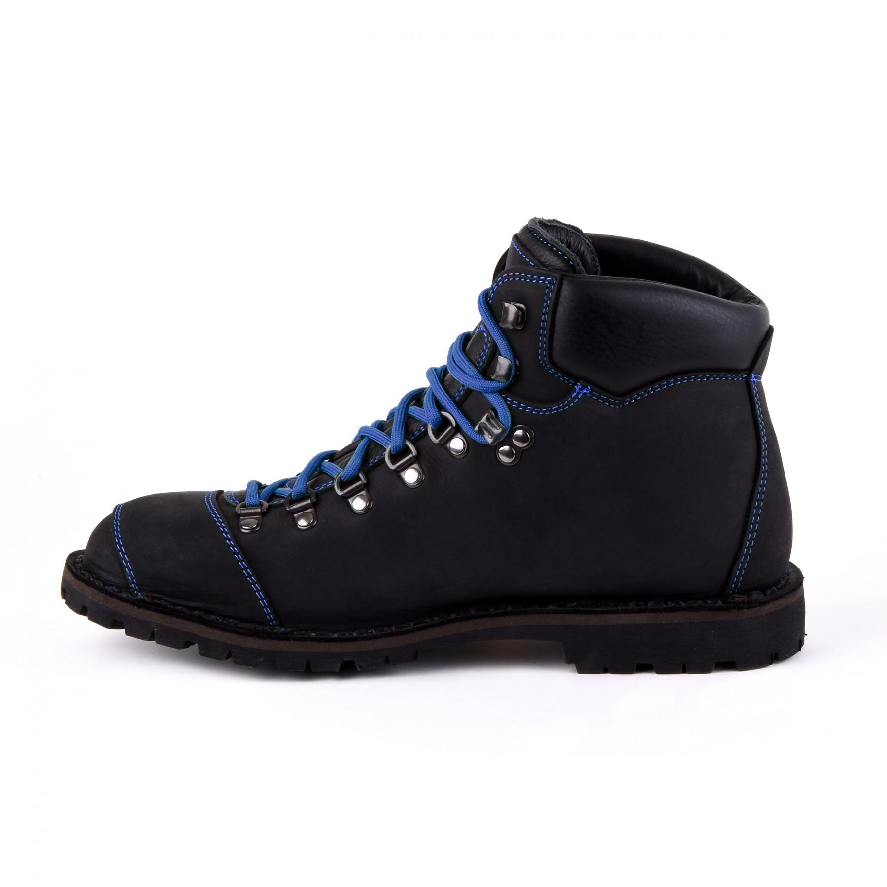 Biker Boot Adventure Denver Black, schwarze Damen Stiefel, blaue Nähte