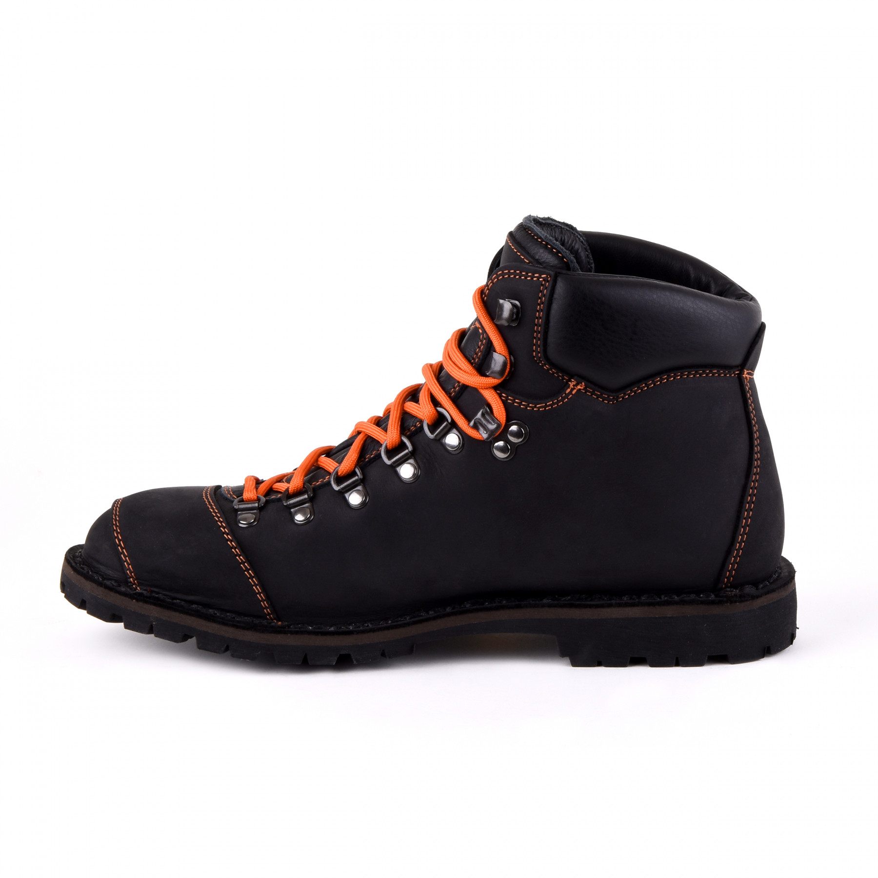 Biker Boot Adventure Denver Black, schwarze Damen Stiefel, orange Nähte