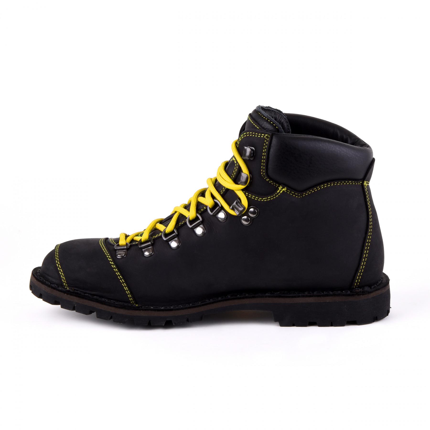 Biker Boot Adventure Denver Black, schwarze Herren Stiefel, gelbe Nähte