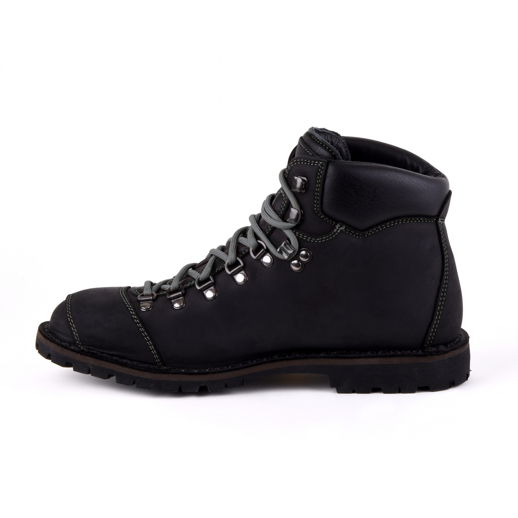 Biker Boot Adventure Denver Black, schwarze Herren Stiefel, graue Nähte
