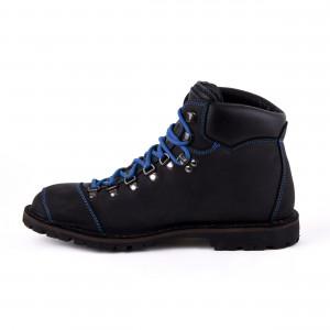 Biker Boot Adventure Denver Black, schwarze Damen Stiefel, blaue Nähte, Größe 36