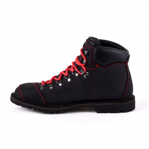 Biker Boot Adventure Denver Black, schwarze Damen Stiefel, rote Nähte